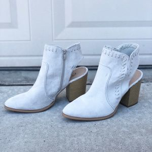 CCOCCI Luck White Open Heel Ankle Heeled Bootie